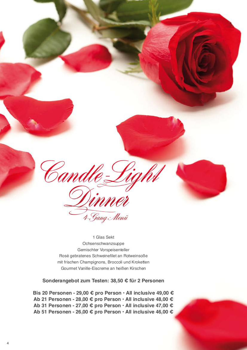 Candle Light Dinner im Hotel Kaiserquelle in Salzgitter